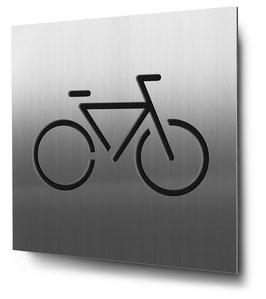 Fahrradstellplatz konturgeschnitten in Edelstahl, Art. PT015CC0030