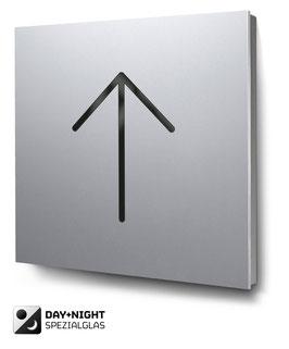 Pfeil nach oben beleuchtet in Aluminium, Art. PT019L0010