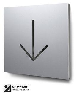 Pfeil nach unten beleuchtet in Aluminium, Art. PT020L0010