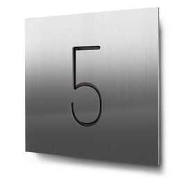 "Hausnummer ""5"" konturgeschnitten in Edelstahl, Art. HN185CC0030-5"