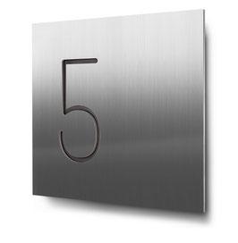 """Hausnummern """"5…"""" konturgeschnitten in Edelstahl"""