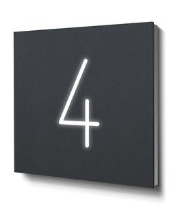"Hausnummer ""4"" RAL7016 anthrazit beleuchtet"