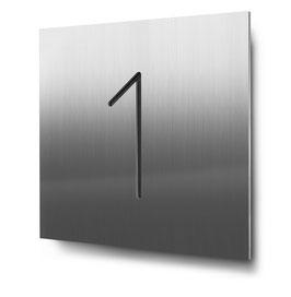 "Hausnummer ""1"" konturgeschnitten in Edelstahl, Art. HN185CC0030-1"