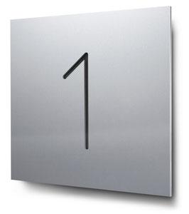 """Hausnummer """"1"""" konturgeschnitten in Aluminium, Art. HN185CC0010-1"""
