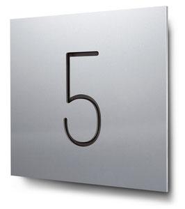 """Hausnummer """"5"""" konturgeschnitten in Aluminium, Art. HN185CC0010-5"""