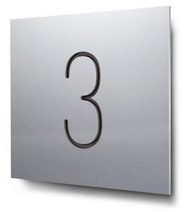 """Hausnummer """"3"""" konturgeschnitten in Aluminium, Art. HN185CC0010-3"""
