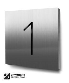 """Hausnummer """"1"""" beleuchtet in Edelstahl"""