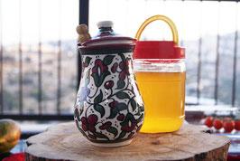 Honigtopf aus Keramik inkl. Honiglöffel aus Olivenholz