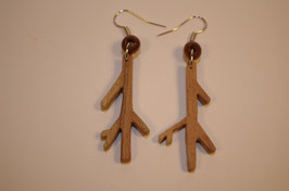 BOUCLES d'OREILLES en bois petites branches design conceptuel