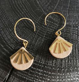 Boucles d'oreilles bois et métal doré MARCELLE