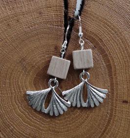 Boucles d'oreilles en bois et métal PALMA