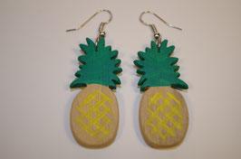 boucles d'oreilles en bois ananas