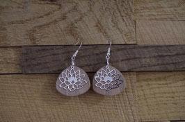 Boucles d'oreilles en bois et métal LOTUS