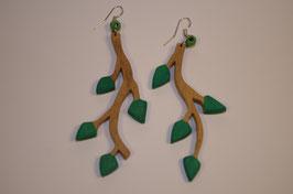 BOUCLES D'OREILLES Grande branche à feuilles vertes