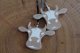 Boucles d'oreilles en bois Oh la vache !