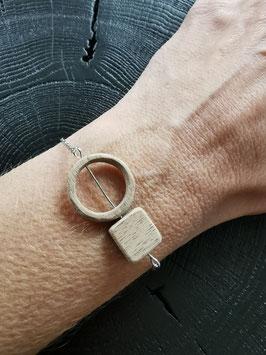 Bracelet en bois Rond - Carré chaîne fine