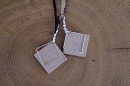Boucles d'oreilles en bois métal losange