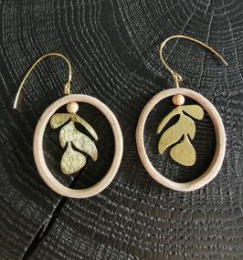 Boucles d'oreilles bois et métal doré LUCIENNE