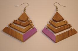 boucles d'oreilles Bois pyramidales