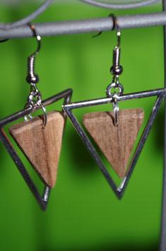 Boucles d'oreilles en bois triangle métal