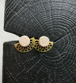 Puces d'oreilles bois et métal doré GERMAINE