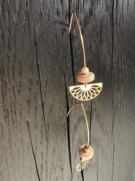 Boucles d'oreilles bois et métal doré ARLETTE