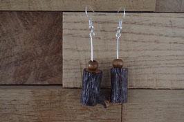 Boucles d'oreilles BÛCHETTE -  bois de noisetier vernis