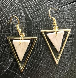 Boucles d'oreilles en bois triangle métal DORE