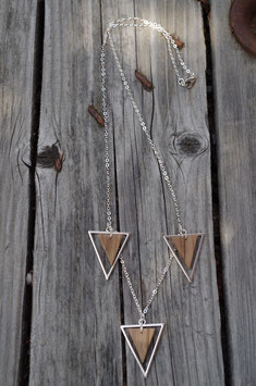 COLLIER BOIS & METAL 3 TRIANGLES