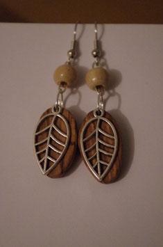 Boucles d'oreilles en bois feuille argentée