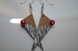 Boucles d'oreilles en bois RED MARBEL