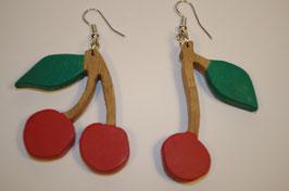 boucles d'oreilles en bois cerise
