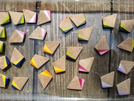 boucles d'oreilles en bois bicolore TRAPEZE Noyer