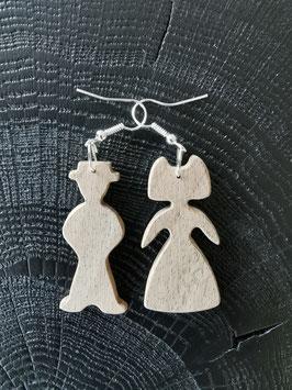 Boucles d'oreilles en bois Le couple d'Alsaciens