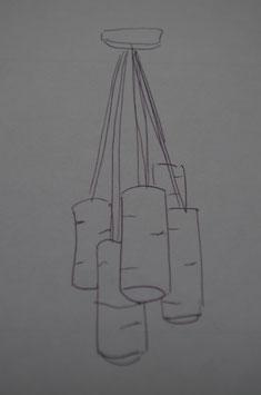 Lampe suspension, branche de bouleau 5 BRANCHES