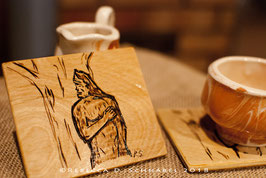 """Morning Coffee for Sasquatch"" Wood-Burned Coaster"