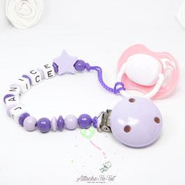Attache tétine personnalisée, étoile, lilas et violet.