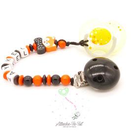 Attache sucette personnalisée, renard chic, noir et orange.