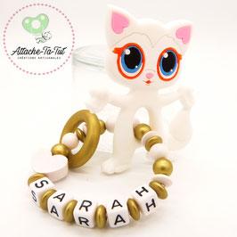 Hochet, anneau de dentition personnalisé, chat, blanc et or.
