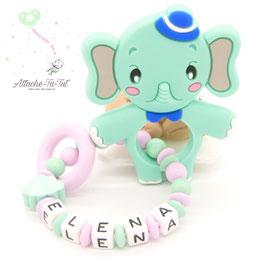 Hochet, anneau de dentition personnalisé, éléphant, menthe et rose.