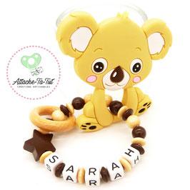 Hochet, anneau de dentition personnalisé, Koala, nature et chocolat.