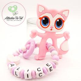 Hochet, anneau de dentition personnalisé, chat, rose et blanc.