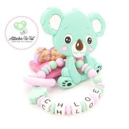 Hochet, anneau de dentition personnalisé, Koala, menthe et rose.