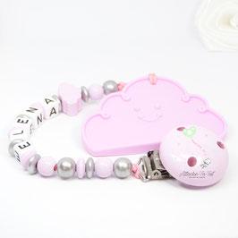 Attache et anneau dentition, nuage , rose pâle et argent.