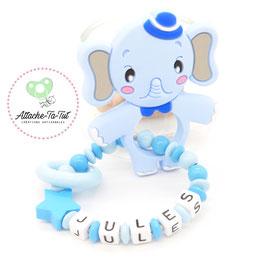 Hochet, anneau de dentition personnalisé, éléphant, bleu et azur.