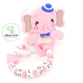 Hochet, anneau de dentition personnalisé, éléphant, rose et blanc.