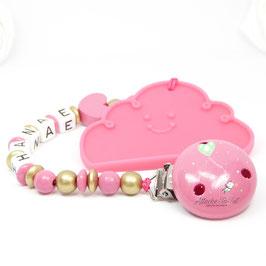Attache et anneau dentition, nuage , rose et or.