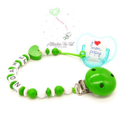 Attache sucette personnalisée, cœur, vert et blanc