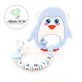 Hochet, anneau de dentition personnalisé, Pingouin, bleu et blanc.