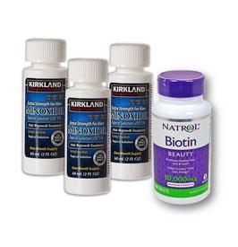 Kit: Minoxidil Kirkland (3 meses) + Biotina de 10,000 mcg.